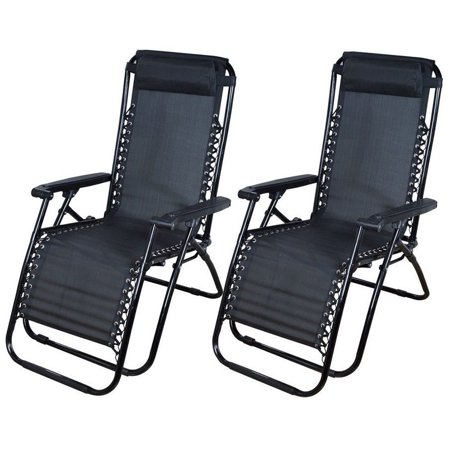 Cheerwing Black Zero Gravity Recliner Chairs Lounge Patio Chairs Outdoor Yar