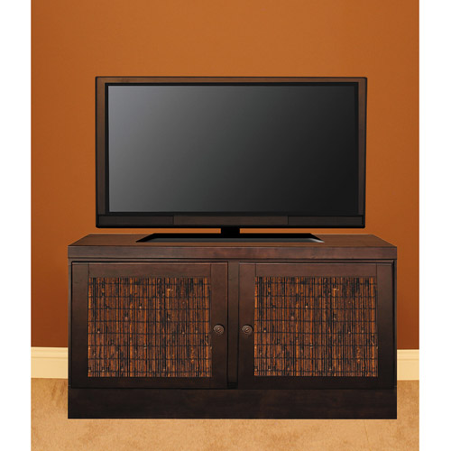 "48"" Console with Transitional Handles & Bamboo Door Inserts, Mocha"