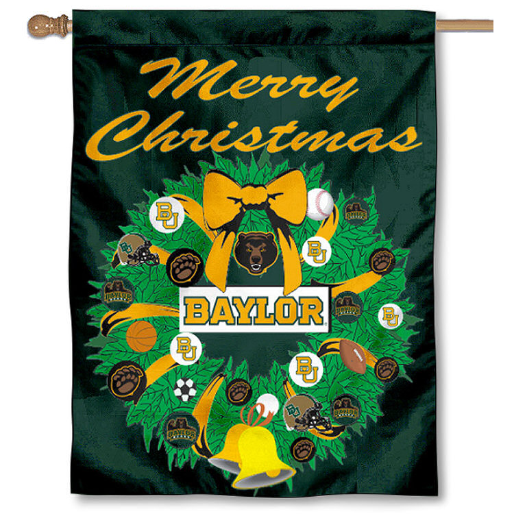 Baylor University Bears Merry Christmas Banner Flag