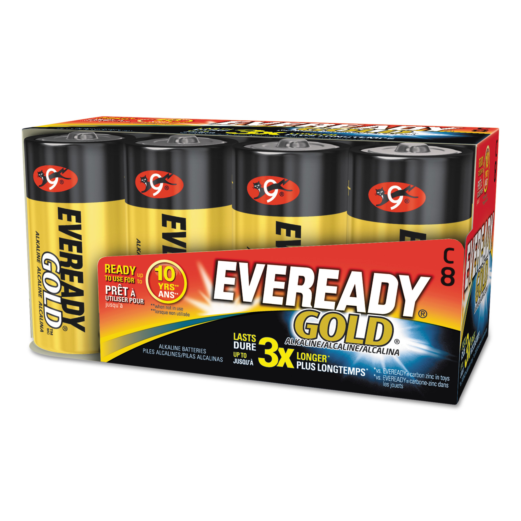 Eveready Gold Alkaline C Batteries, 8 Count