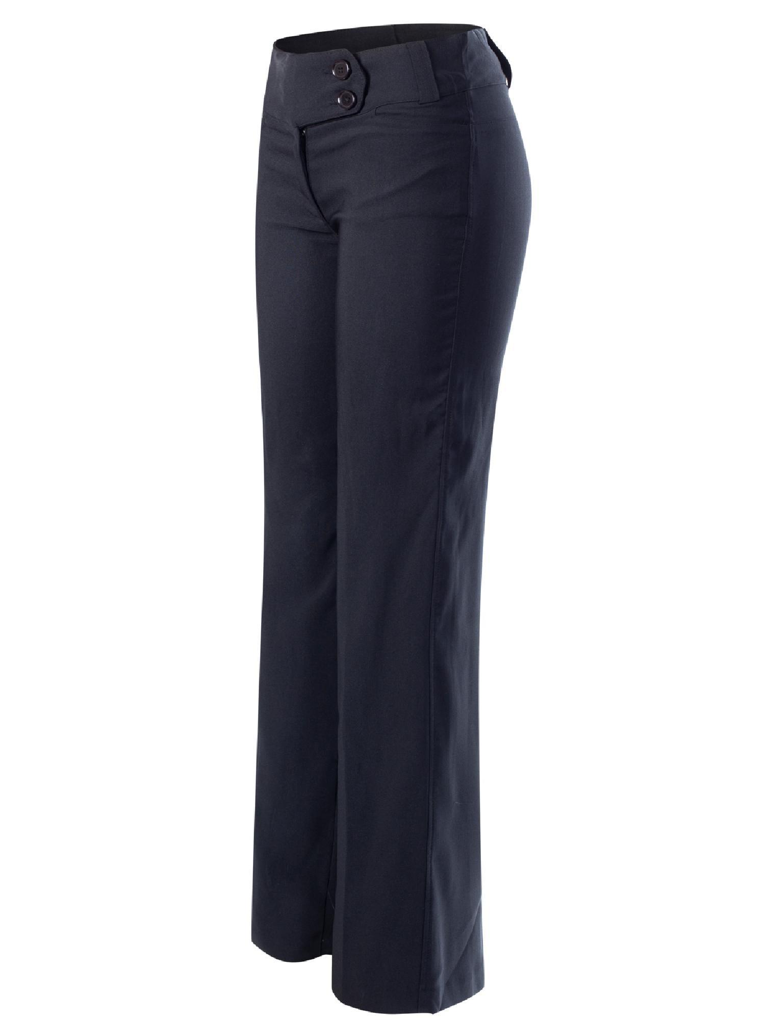 19dd61814a Made by Olivia - Made by Olivia Women s High Waist Slim Boot-Cut Stretch  Dress Pants Trousers Black L - Walmart.com