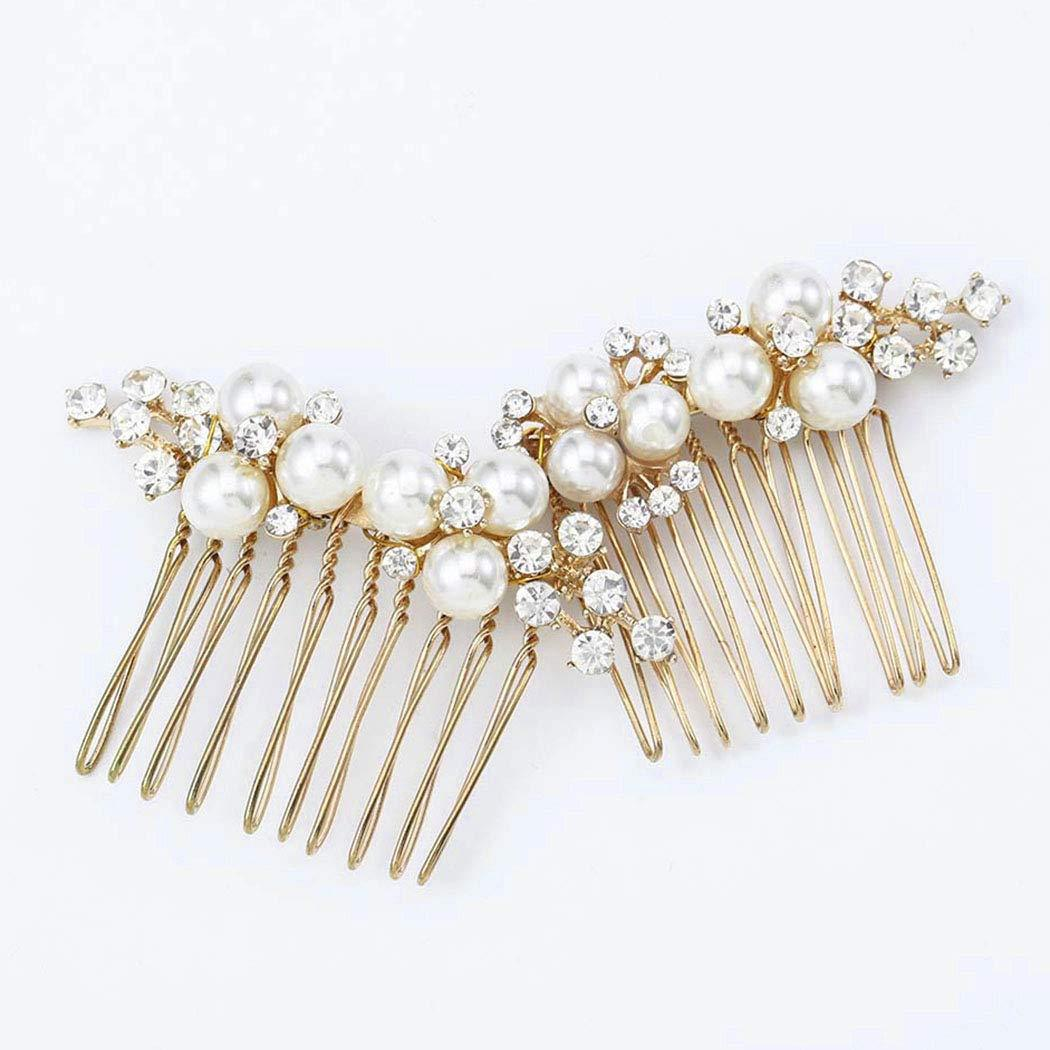 Gold Wedding Hair Comb Slides Crystal Flower Bridal Prom Hair Accessories with Pearl Headpiece Party for Brides and Bridesmaids