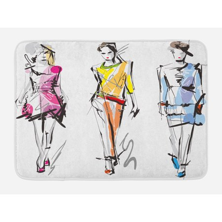 Teen Room Bath Mat, Fashion Models Walking on Runway Girly Colorful Abstract Sketch Artwork Design, Non-Slip Plush Mat Bathroom Kitchen Laundry Room Decor, 29.5 X 17.5 Inches, Multicolor, Ambesonne