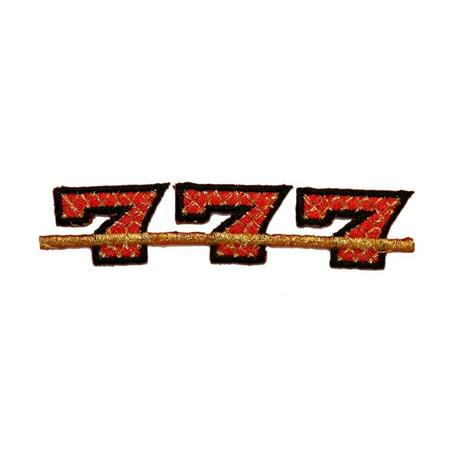 ID 0071C Triple Seven 7 Gold Lattice Patch Embroidered Iron On - Iron Lattice