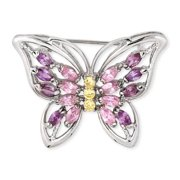CZ PIN229 Marquise C. Z.  Pink Amethyst Round Canary Butterfly Pin