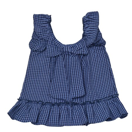 Rare Editions Baby Girls Navy Checker Print Ribbon Accent Ruffle Dress