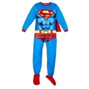 DC Comics Boys Blue Superman Sleep & Play Fleece Footed Pajama Sleeper & Cape