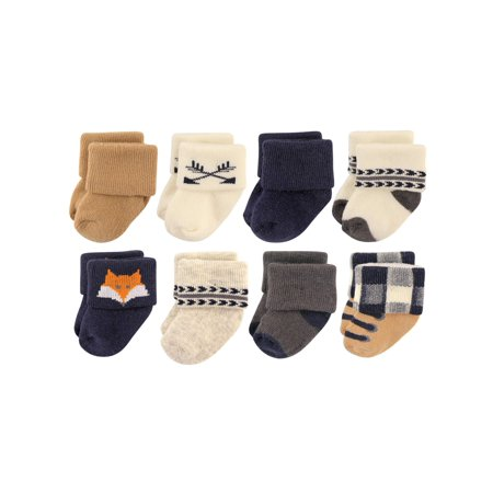 Roll Cuff Crew Socks, 8-Pack (Baby Boys)