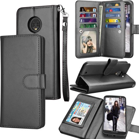 Moto G6 Case, Motorola Moto G6 Wallet Case, 2018 Moto G6 PU Leather Case, Tekcoo Luxury ID Cash Credit Card Slots Holder [Black] Carrying Folio Flip Cover [Detachable Magnetic Hard Case] & Kickstand ()