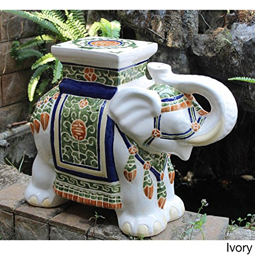 International Caravan Oriental-themed Large Ivory White Porcelain Elephant Garden Stool Accent Statue with Painted Multicolored Glaze Finish