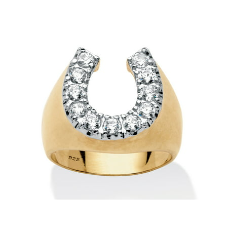 - Men's 1.10 TCW Round Cubic Zirconia Horseshoe Ring in 18k Gold over Sterling Silver