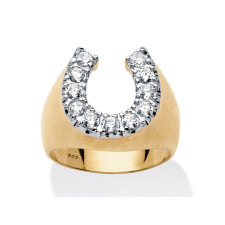 Men's 1.10 TCW Round Cubic Zirconia Horseshoe Ring in 18k Gold over Sterling Silver Gold Mens Horseshoe