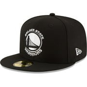 Golden State Warriors New Era Black & White Logo 59FIFTY Fitted Hat - Black