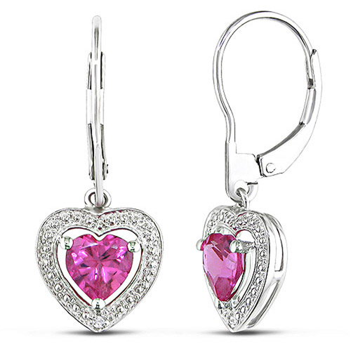 2 Carat T.G.W. Created Pink Sapphire and Diamond-Accent Heart Drop Earrings in Sterling Silver
