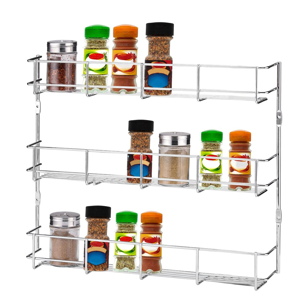 3 Tiers Iron Kitchen Wall Mount Storage Seasoning Rack Spice Condiment Holder Door Spice Rack Cabinet Organizer Storage