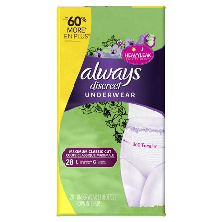 Always Discreet  Incontinence Underwear For Women  Maximum Classic Cut  Large  28 Count
