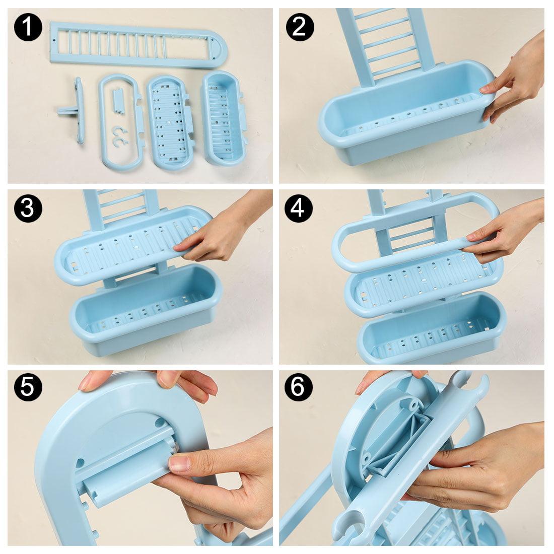 Plastic 3 Tier Hanging Bathroom Tub Shower Shelf Organizer for Bathroom Blue - image 8 of 9