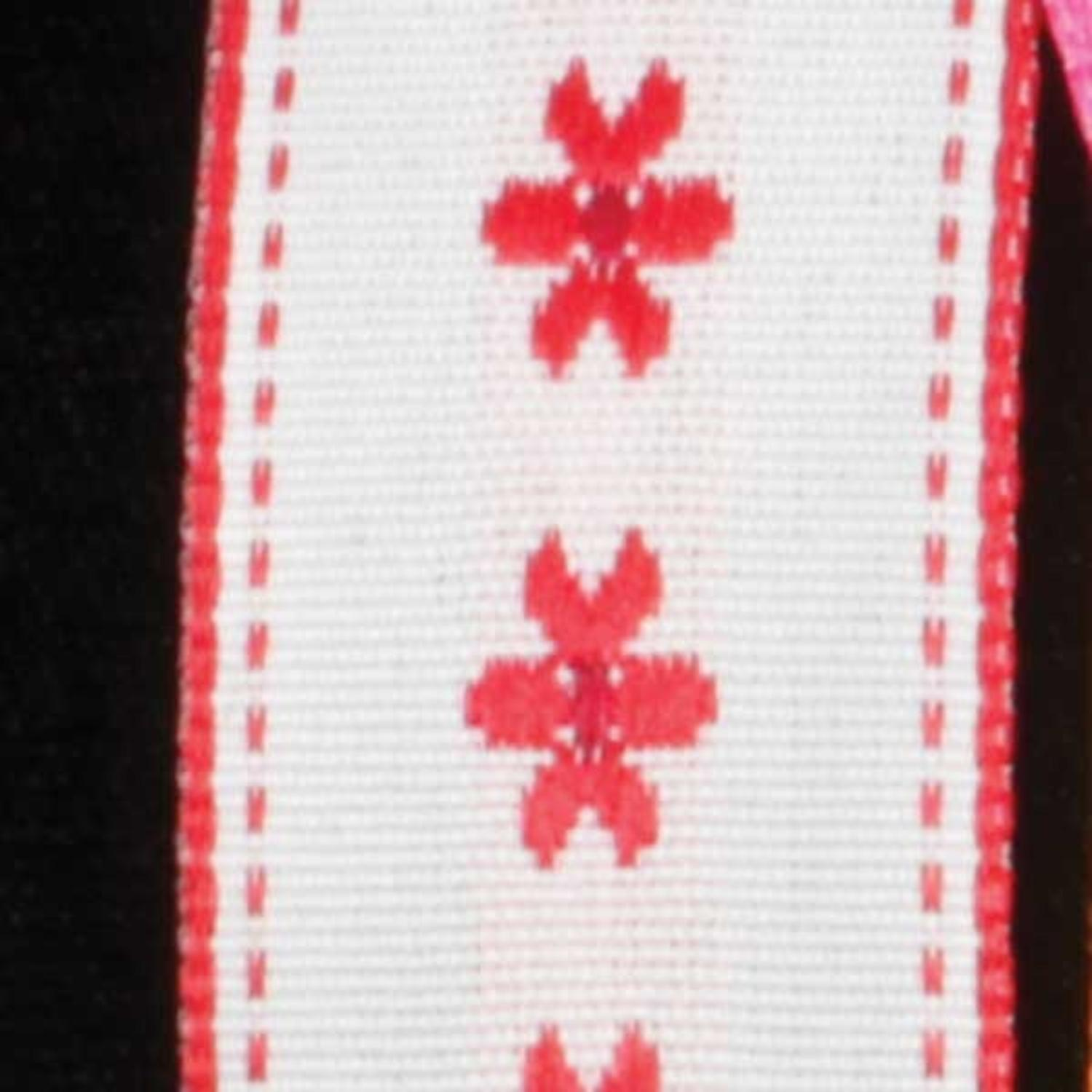 "Dainty Blossoms White and Red Floral Wired Craft Ribbon 7/8"" x 54 Yards"