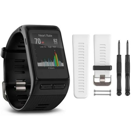 Garmin Vivoactive Hr Gps Smartwatch   Regular Fit  Black  White Band Bundle Includes Vivoactive Hr Smartwatch And White Band