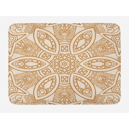 - Beige Bath Mat, Ornate Ethnic Squared and Rounded Asian Eastern Texture with Dimensional Axis Artwork, Non-Slip Plush Mat Bathroom Kitchen Laundry Room Decor, 29.5 X 17.5 Inches, Tan Cream, Ambesonne