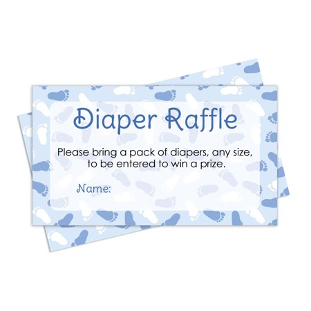 Diaper Raffle Tickets Baby Shower Game - Blue Boy Theme (25 Cards) - Elephant Baby Shower Theme Boy