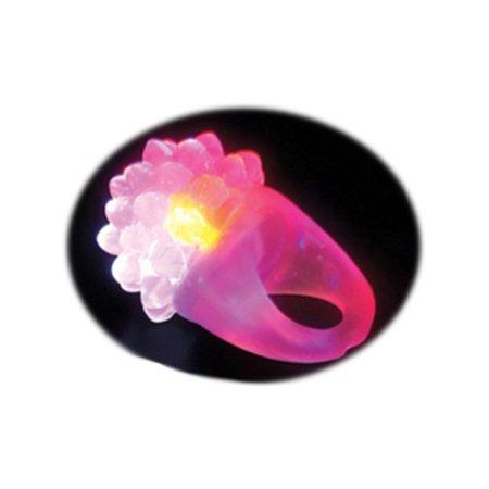 Pink Flashing LED Light Up Costume Accessory Bumpy Gel Ring