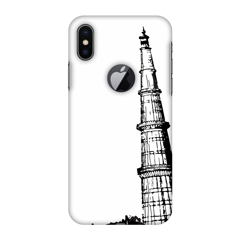 iPhone X Case - Qutub Minar, Hard Plastic Back Cover. Slim Profile Cute Printed Designer Snap on Case with Screen Cleaning Kit