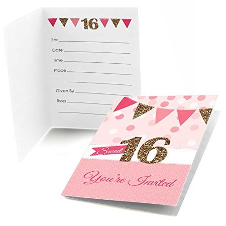 Sweet 16 - Fill In Birthday Party Invitations - Set of 24