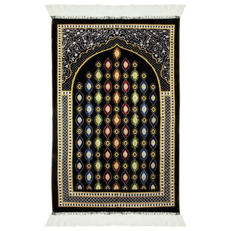 Gold Border Lantern Design Soft Lightweight Turkish Islamic Muslim Prayer Rug with Tassles (Black And Gold Border)