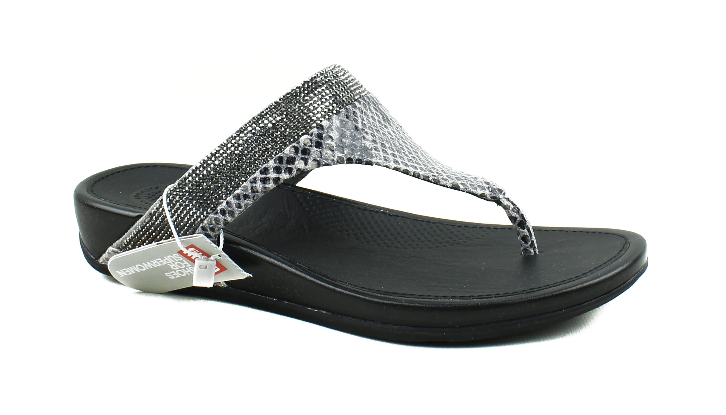 Fitflop Fitflop Womens Banda Crystal Snake Mink Gray Leather Toe Thong Flip Flops Walmart Com Walmart Com