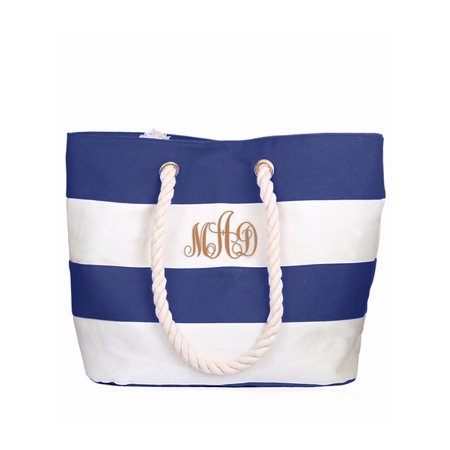 Personalized Large Blue Canvas Beach Tote Bag w/Laser Engraved Monogram - Cheap Monogrammed Tote Bags