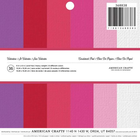 American Crafts Cardstock Valentine's Paper Pad, 6 x 6