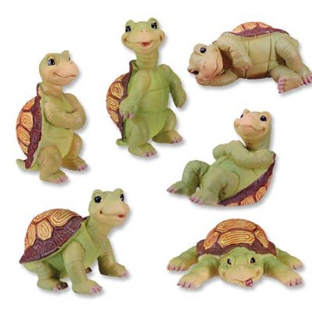 Turtles Posing Set of 6 Figurines 3 Inch Sea Life Animal Collectible Decoration