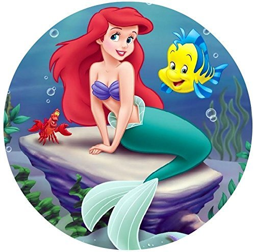 "The Little Mermaid Ariel Edible Image Photo 8"" Round Cake Topper Sheet Personalized Custom Customized Birthday Party"