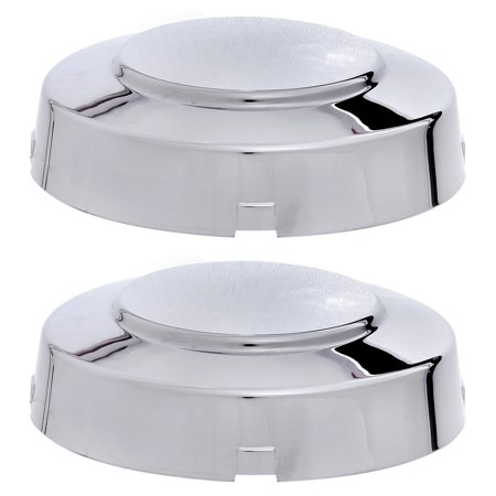 - (SET OF 2 PIECE) CHROME FRONT CENTER CAP, Aftermarket Fits 1999-2004 FORD F350 SUPER DUTY  4X2 2WD DUALLY, HUB  (Replaces F81Z-1130-KC, F81Z1130KC; Chrome plated Plastic)
