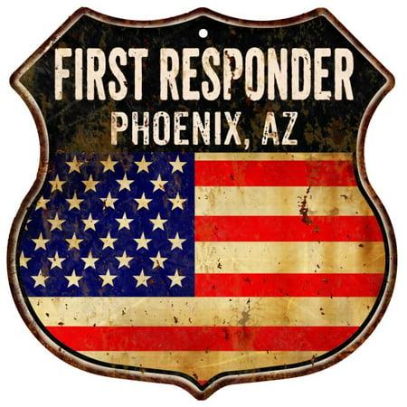 PHOENIX, AZ First Responder American Flag 12x12 Metal Shield Sign S122288 ()
