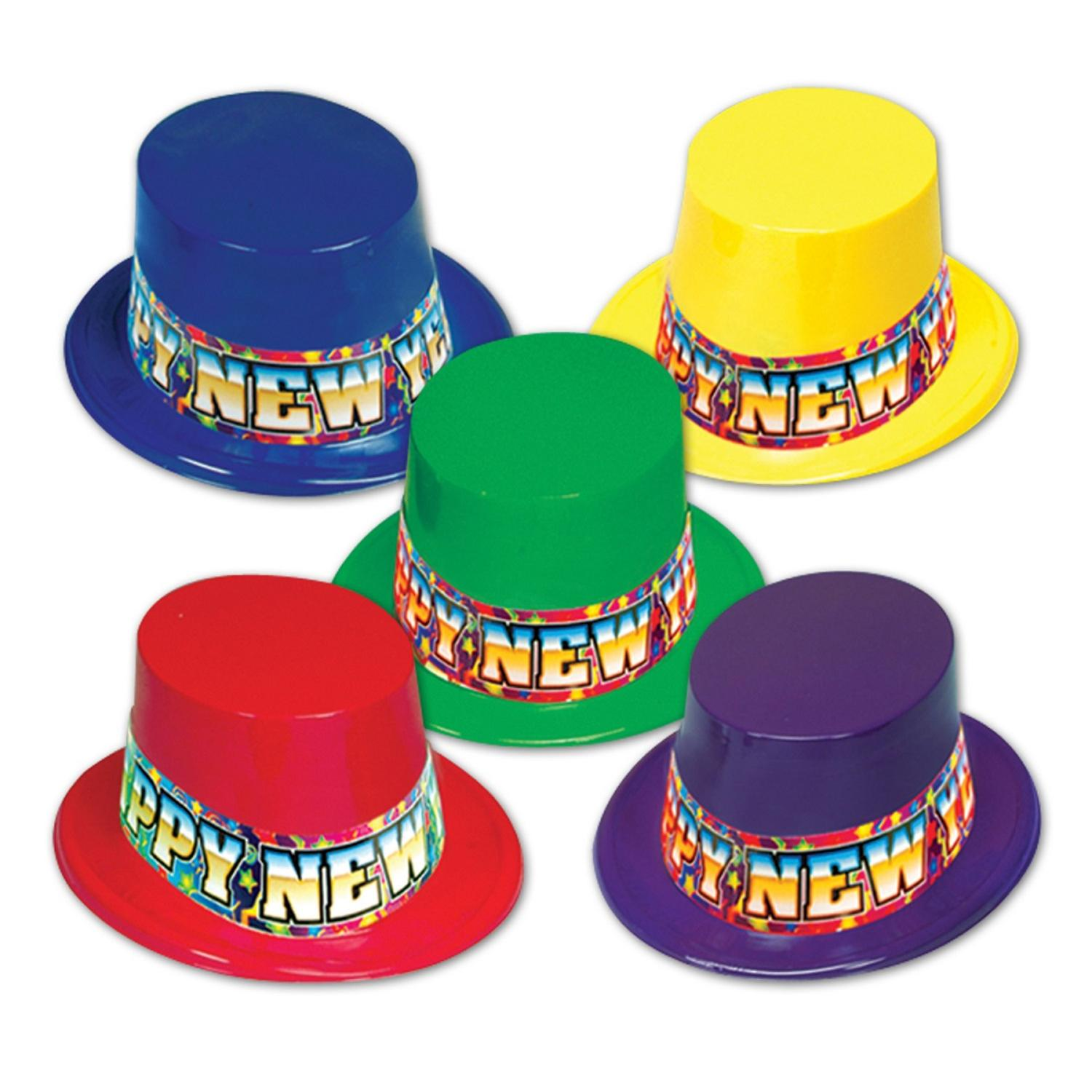 """Club Pack of 25 Festive """"Happy New Years"""" Rainbow Party Favor Hats"""
