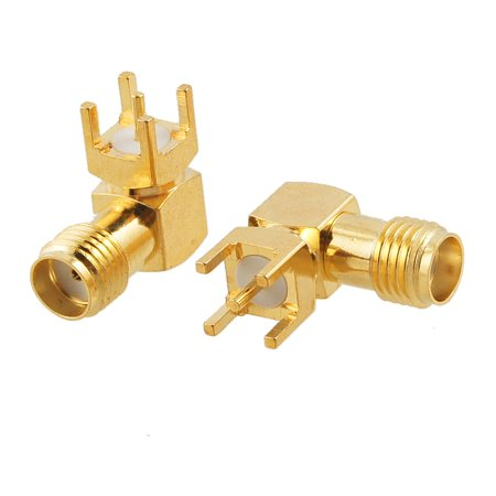 Unique Bargains 2 Pcs Right Angle SMA Female Plug PCB Mount Connector Adapter ()