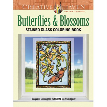 Creative Haven Coloring Books Butterflies And Blossoms Stained Glass Book Paperback