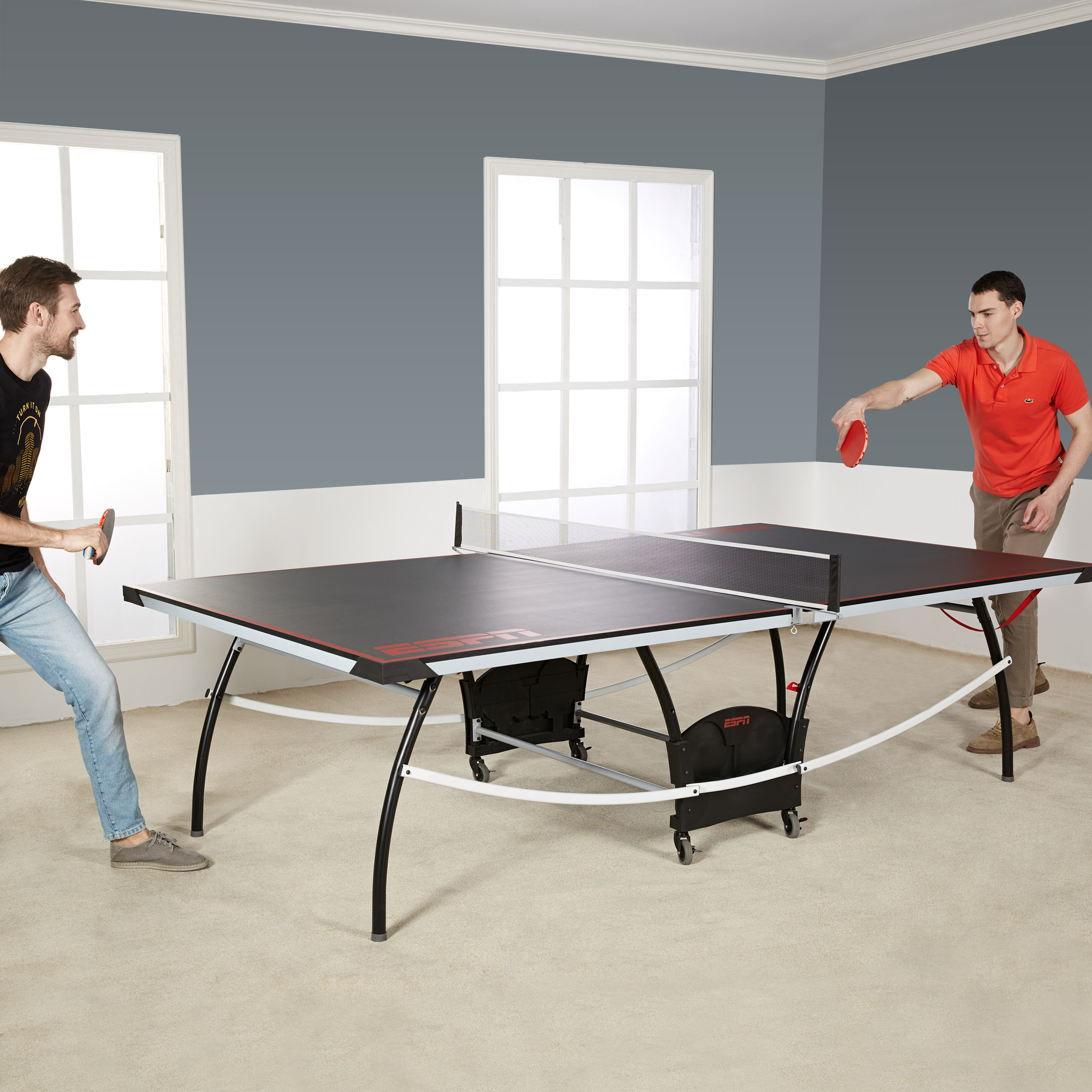 ESPN Official Size Table Tennis Table With Built In Accessory Storage Space    Walmart.com