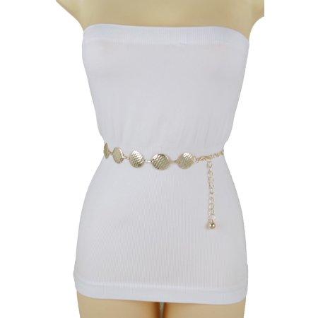- Fun Women Belt Gold Metal Chain Round Circle Charms Hip High Waist Fashion Accessories S-L
