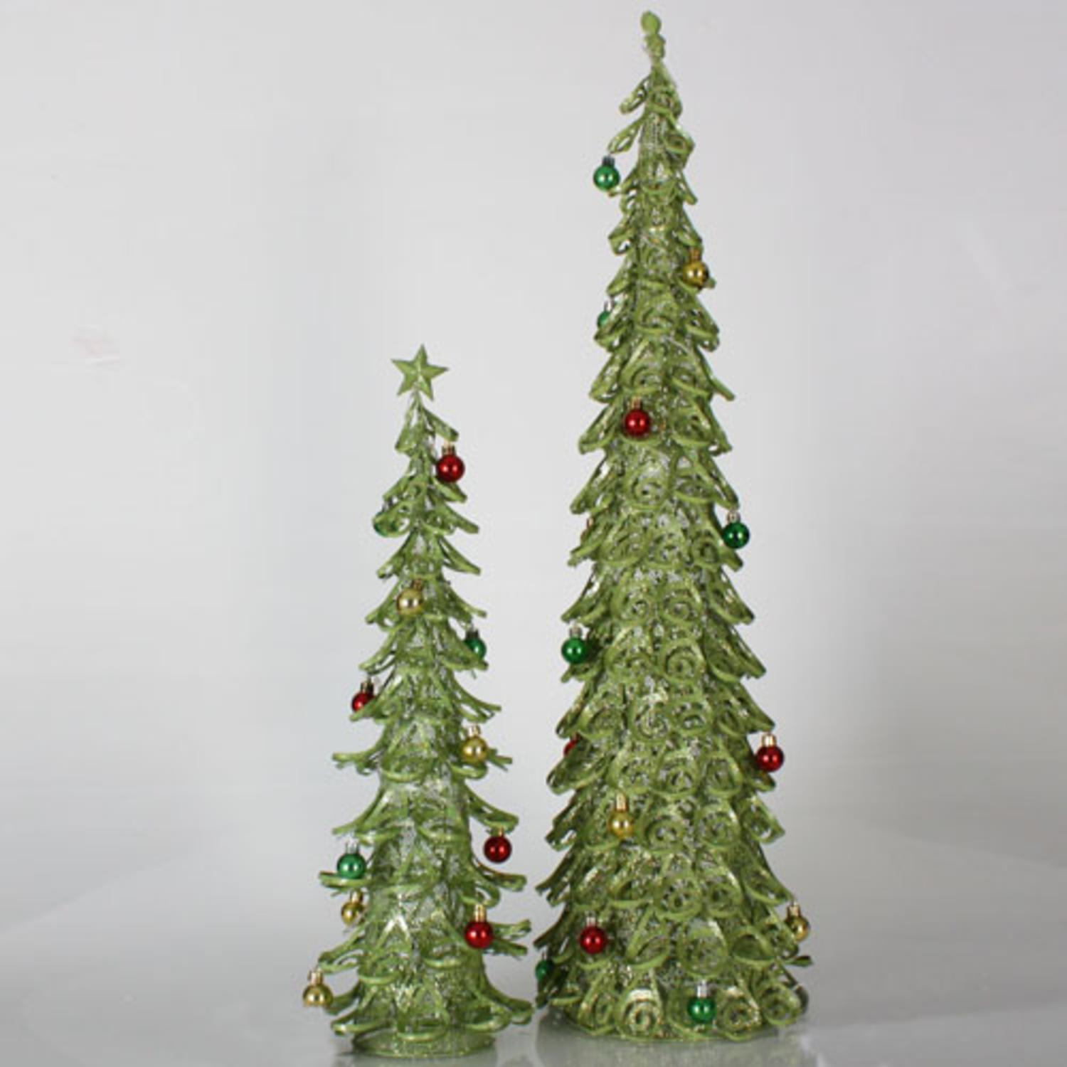 Set of 2 Christmas Brights Lime Green Glitter Mesh Christmas Trees 2', 3'
