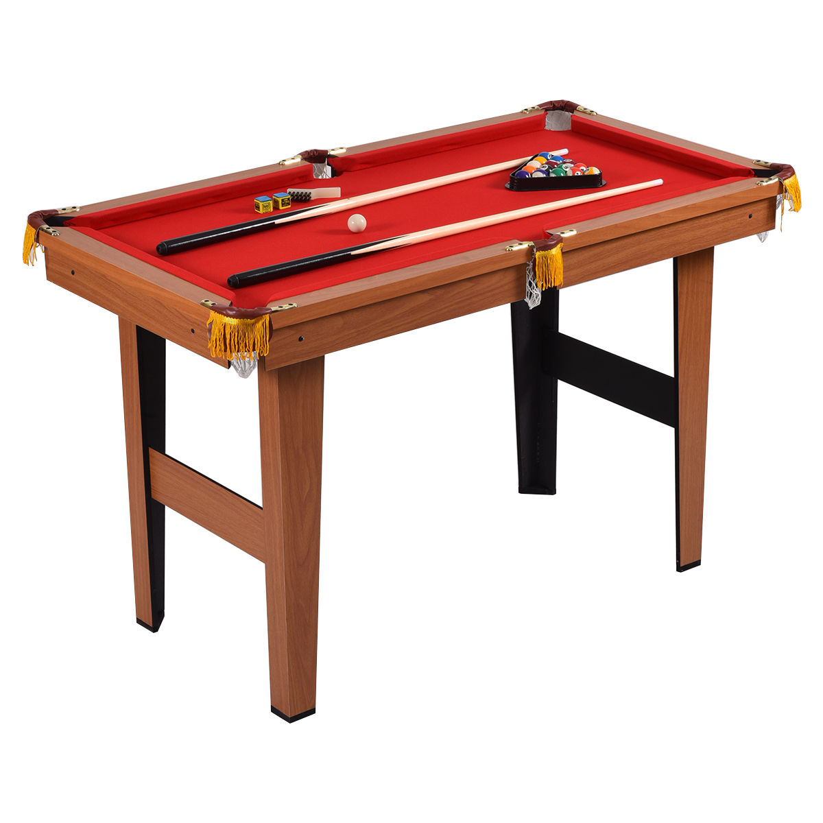 Costway 48'' Mini Table Top Pool Table Game Billiard Set Cues Balls Gift Indoor Sports