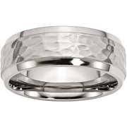 Stainless Steel Beveled Edge 8mm Hammered and Polished Band, Available in Multiple Sizes