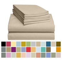 6 PC LuxClub Bamboo Sheet Set w/ 18 inch Deep Pockets - Eco Friendly, Wrinkle Free, Hypoallergentic, Antibacterial, Moisture Wicking, Fade Resistant, Silky, Stronger & Softer than Cotton - Cream Queen
