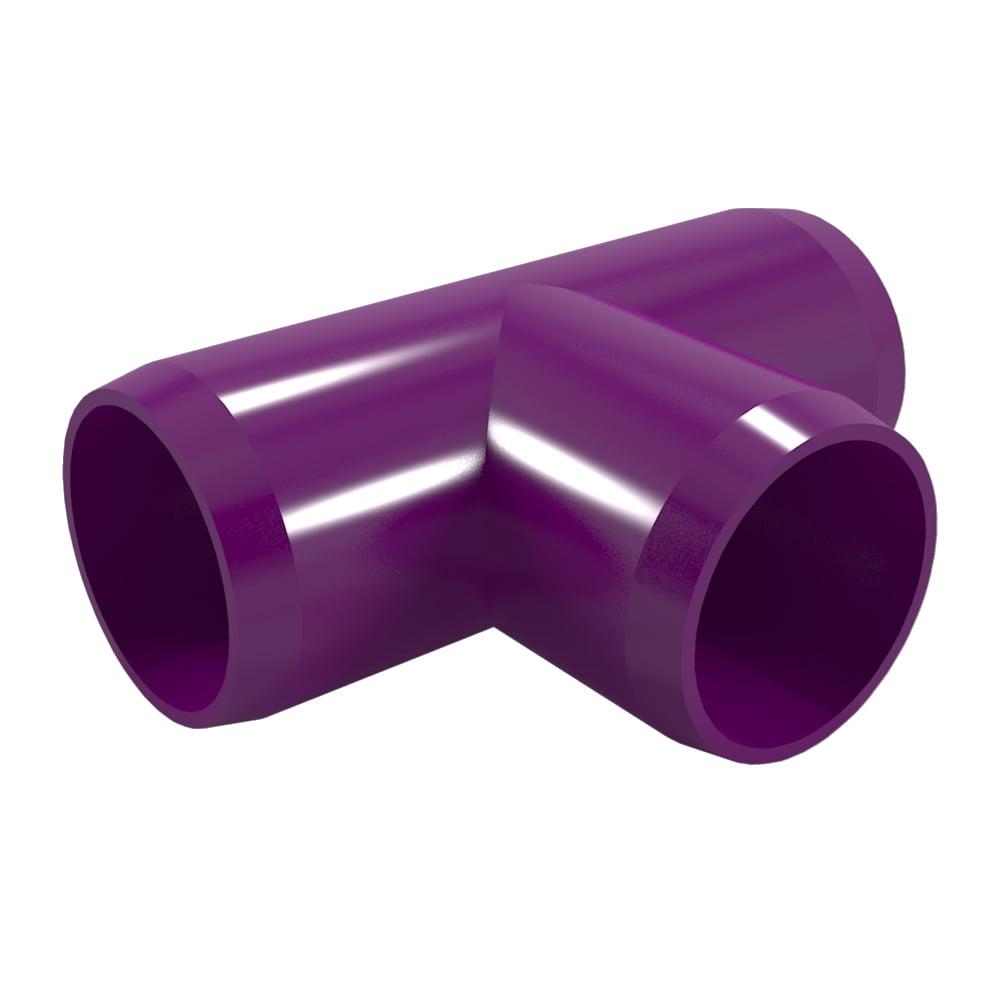 FORMUFIT F034TEE-PU-8 Tee PVC Fitting, Furniture Grade, 3/4 in. Size, Purple , 8-Pack
