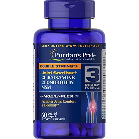 Puritan's Pride Double Strength Joint Sucette Glucosamine chondroïtine MSM Caplets Coated, 60 Count