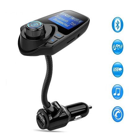 Input Adapter Mp3 (Bluetooth FM Transmitter, Wireless In-Car Radio Adapter MP3 Player Car Kit With USB Car Charger Input 1.44 inch Display micro-SD card Slot )