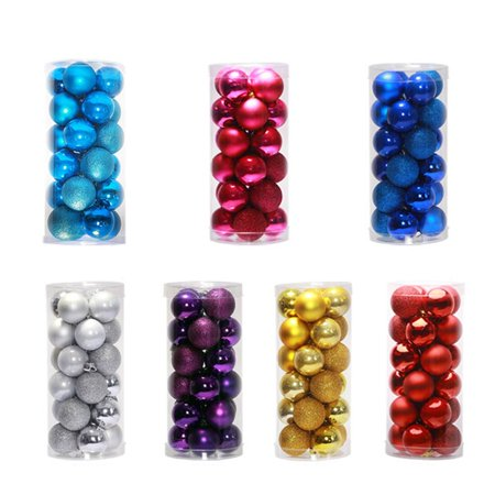 24 PCS Shiny Christmas Tree Ball Baubles Party Wedding Decor Hanging Ornament - image 6 of 6