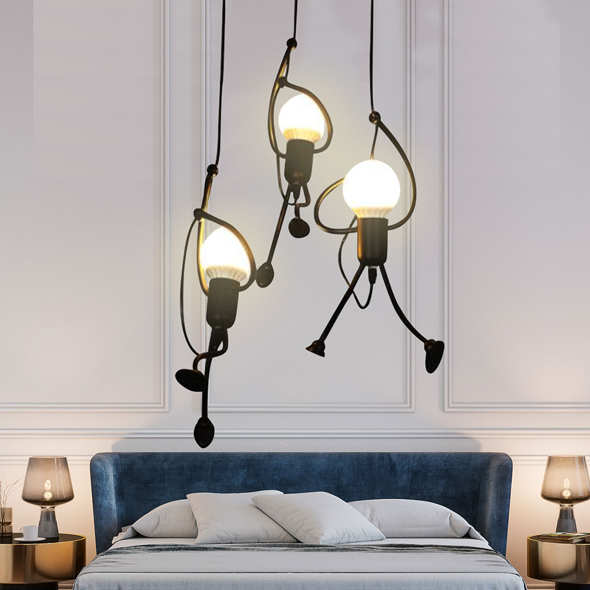 Unique Pendant Light Fixture Hanging Lamp Creative Small Metal Black Chandelier Lighting Adjustable Hanging Light Fixtures For Kids Room Bedroom Dining Room Walmart Com Walmart Com